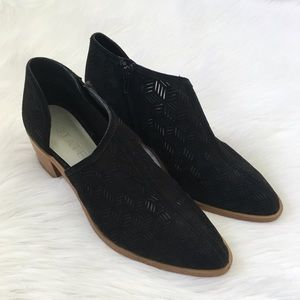 1. State Black Leather Laser Cut Booties
